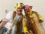 Ringgold Primary administrators Valerie Bonine and Nancy Gurganus were covered in syrup, whipped cream, sprinkles and cherries during an assembly as a reward for RPS students meeting their reading goal.