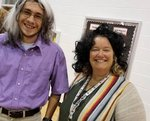 Mr. Parker and Mrs. Davidson sporting their wigs while sharing their WIGs.