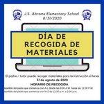 Materials Pick-Up Day (Spanish Version)