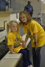 Emily Claire Bailey and Adley Coombs had a great time in the Storm Dome at the GSW basketball games.