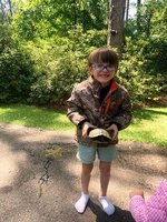 K4 student, Tripp Duncan, is pictured with his turtle.