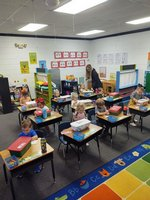 Picture:  The K3 students in  Kelley Stapleton`s class at Southland Academy are so happy to pack the Operation Christmas Child boxes.
