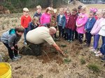Pictured are Southland Academy First Graders observing Georgia Forestry Ranger Mark Shutters planting a saw tooth oak.