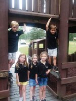 Pictured at the Playground Entrance are Gage Chapman, Lyle Griffin, Caroline Wellons, Kayden Miller, and Anna Gail Hammock.