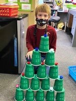 Tildon`s Christmas tree made of plastic cups is very festive!