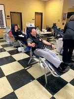 Pictured are Headmaster Ty Kinslow and Mrs. Brook Peterson doing their part to save lives!