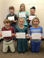 Shown with their letters are Asa Baldwin, Reese Covington, and Reeves Young; Davis Holloway, Savannah Grace Ewing, and Lanna Bell.
