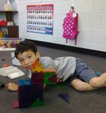 Pictured is Haddon Collins, son of Terry and Joel Collins, with a dog he constructed with the Magna Tiles.