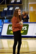 Southland Academy Senior Anna Kate Ivey sings the National Anthem in the Storm Dome for the GSW basketball games.