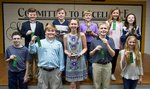 (Pictured are 4th & 5th grade Speech Contest Finalists:  (bottom)  Davis Peck, Cade Futch, Tayler Bennett (2nd Place), Matteson DeBaise, Parker Layfield; (Top):  Daniel Madden, Shaw Pinnell (3rd Place), Charlie Crisp (1st Place), Laura Cate Harris, Brianna Brown.)