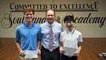 Pictured are Commended Student George Wall, Headmaster Ty Kinslow, Commended Student Alec Tan