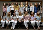2019-2020 Varsity Cheerleaders are (seated) Emma Griffin, Maddy Copeland, Parker Reeves, Sarah Murphy, Ellie Barnes, Leslie Anne Farr, Halley Kate Turner; (standing) Lily Haugabook, Holladay Miles, Tate Young, Macie Deriso, Eva Grace Studdard, Addison Starlin, Abby Sellers, Lydia Anne Love, Averi Smith.