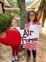 Sarah and Carli Davis give a Veterans Day tribute to the Air Force.
