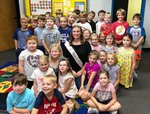 Pictured is Miss SAR Karson Duke enjoying time with the first graders.