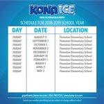 2018-2019 Kona Ice Schedule