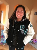 Amaya wears her new jacket with Panther Pride!