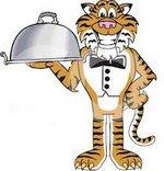 Tiger holding dinner platter
