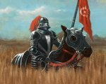 A knight riding a horse.