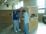 Students working on deer blind