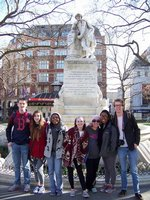 posing with Shakespeare in London