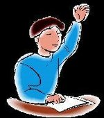 Boy raising hand