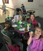 Kindergartners enjoy the bowling party.