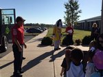 Students learn about fire safety.