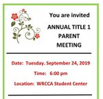 WRCCA Annual Title 1 Parent Meeting