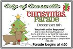 Flyer of Christmas Parade with tree, date, and time