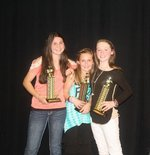 first place-Avrie Boles  second place-Camryn Gray  third place-Zaily RobinsonTalent Show Winners!