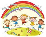 Children Dancing under Rainbow