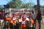 From Left to Right Deshaun Moultry (4th Grade), Azeleah Taylor (1st Grade), Armani Brown (2nd Grade), Emani Mason (5THGrade), M�Caiyah Jones (3rd Grade) Front Row Jeremy Andrews (Pre-k), Zoe Reed (Kindergarten