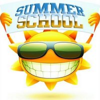 Sun Holding a sign that says summer school