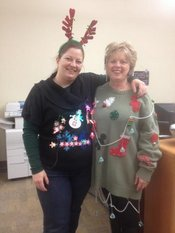 Cherise Harbour, Special Services Secretary and Patty Fetherston, Secretary showing their holiday spirit.