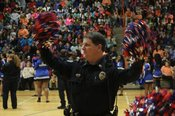Southaven Police Sgt. Gaston McCormick helps lead the pep rally that kicks off the Great Kindness Challenge at SIS.